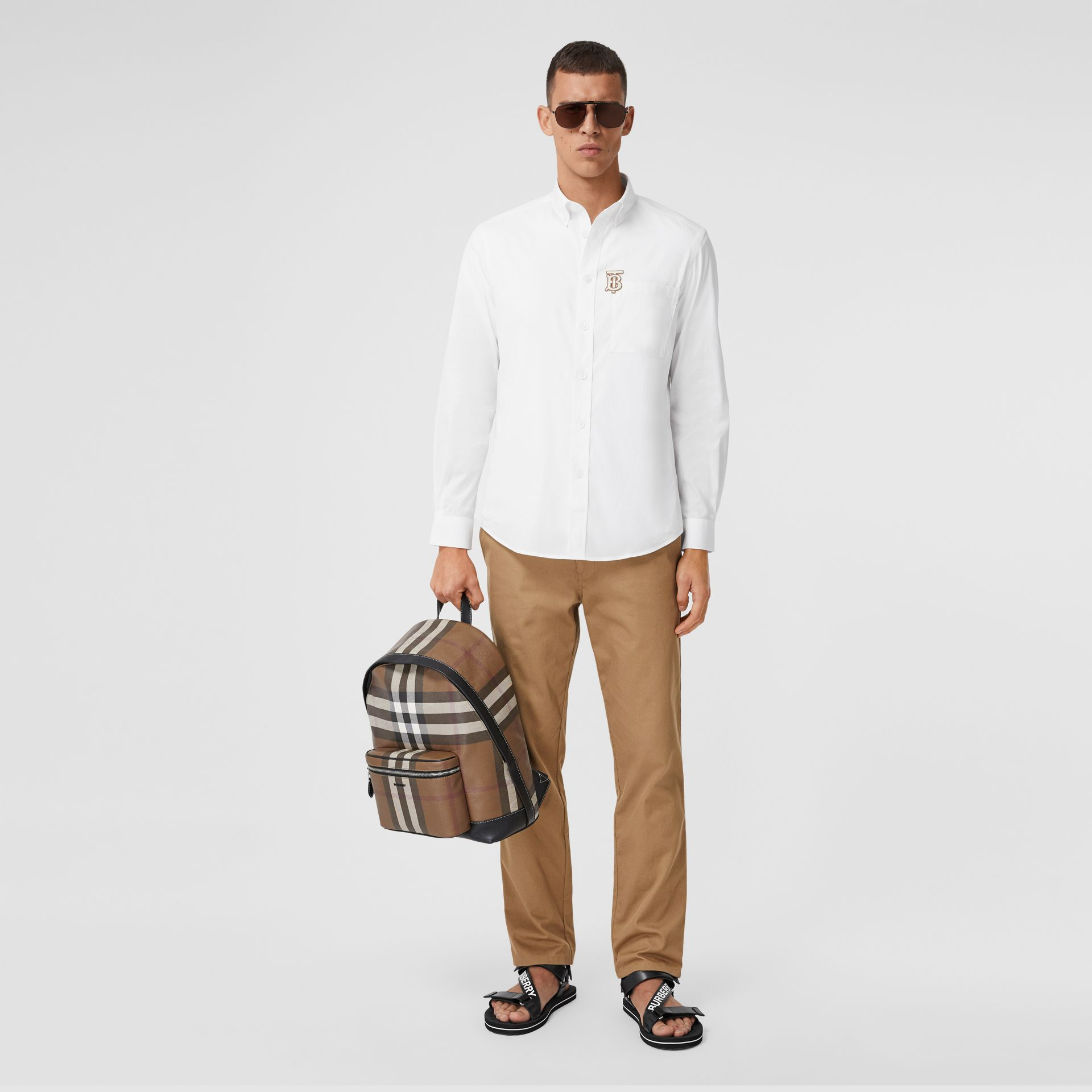 Monogrom Motif Stretch Cotton Poplin Shirt in White - Men | Burberry Hong Kong S.A.R. - gallery image 5