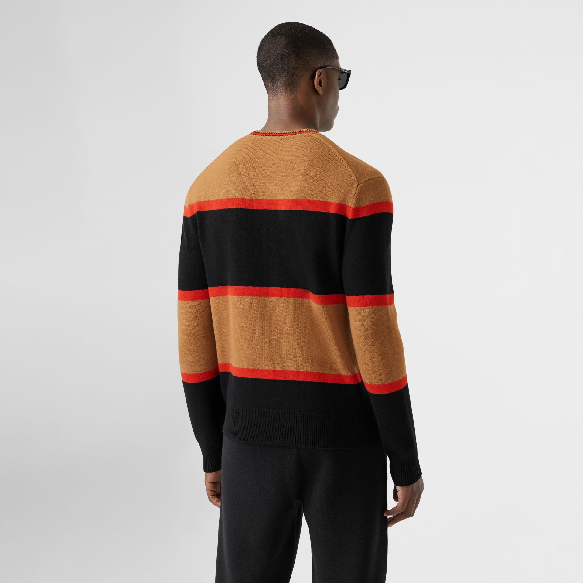 Striped Wool Cashmere Sweater in Black - Men | Burberry - gallery image 2