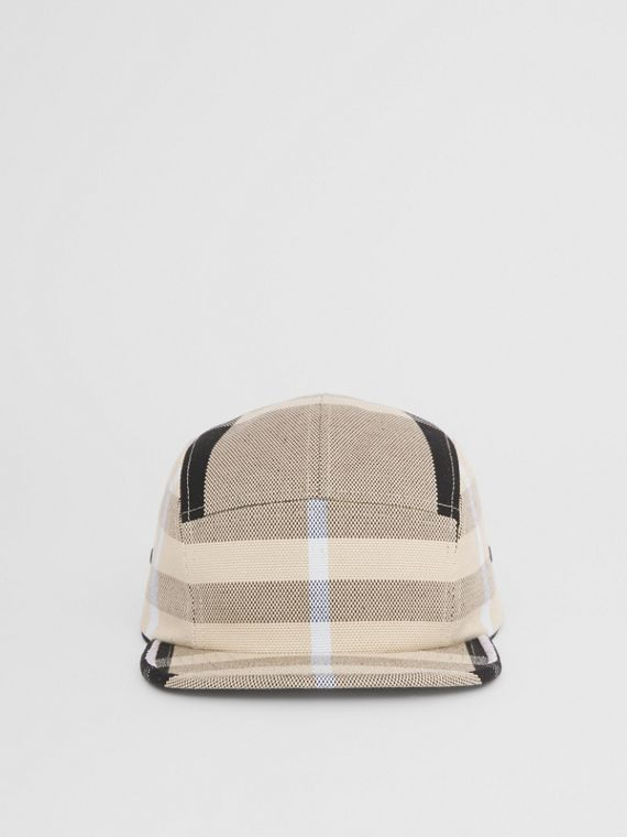 Check Cotton Canvas Jacquard Cap in Dusty Sand