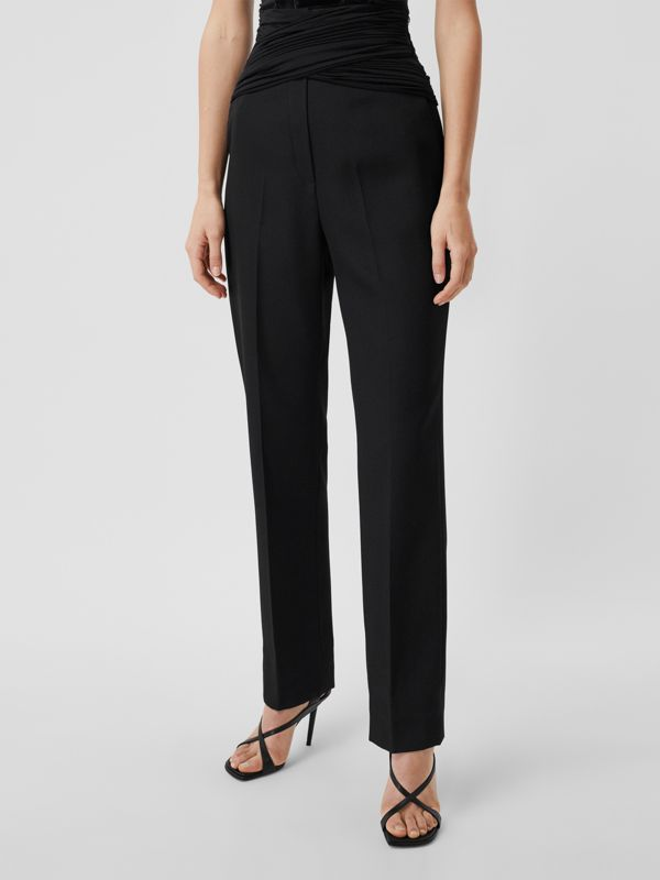 Jersey Sash Detail Wool Tailored Trousers in Black - Women | Burberry - cell image 3