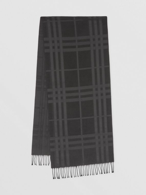 Check Silk Jacquard Scarf in Black