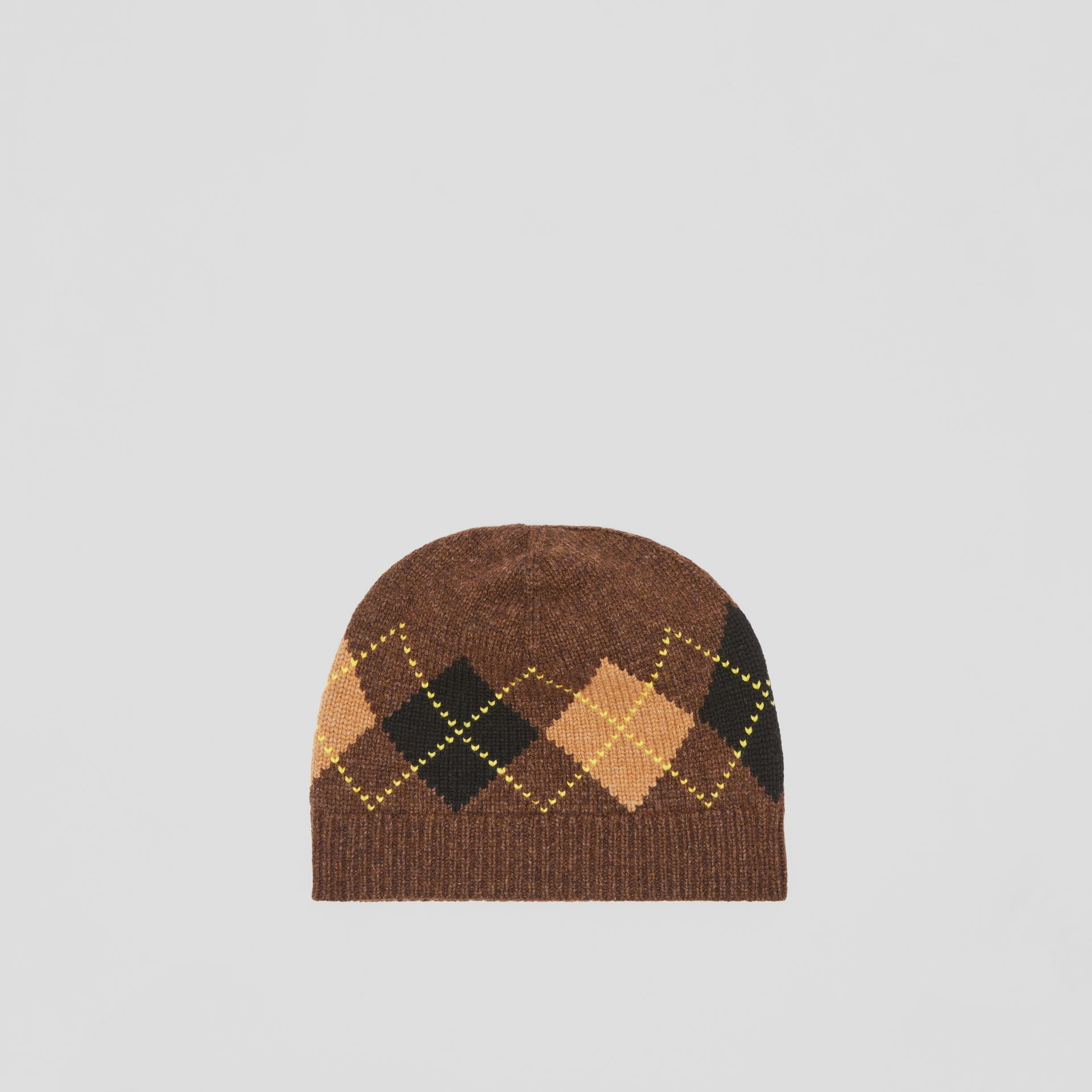Argyle Intarsia Wool Cashmere Beanie in Brown | Burberry - gallery image 0