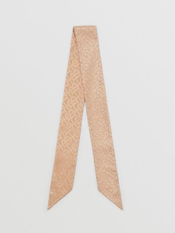 Reversible Crystal Monogram Silk Skinny Scarf in Camel