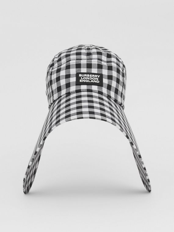 Logo Appliqué Gingham Cotton Bonnet Cap in Black/white