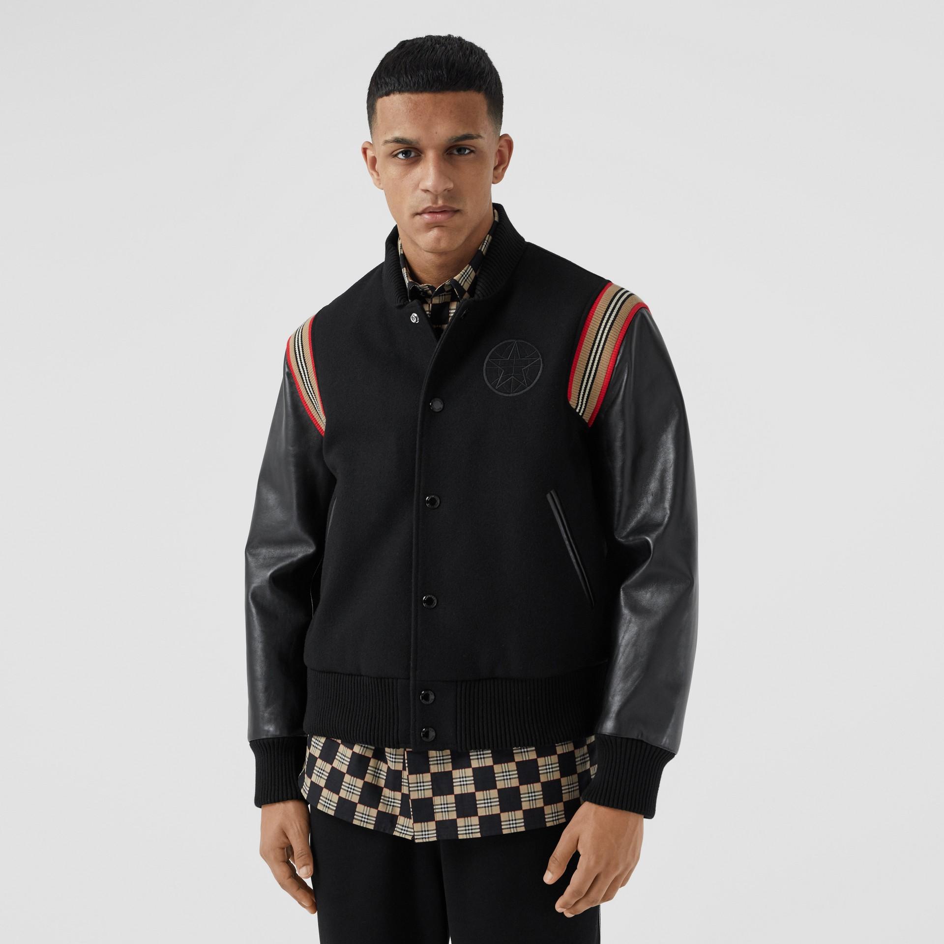 Icon Stripe Trim Wool Felt and Leather Bomber Jacket | Burberry United Kingdom - gallery image 5