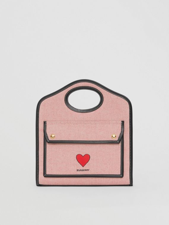 Mini Heart Motif Canvas and Leather Pocket Bag in Red/black