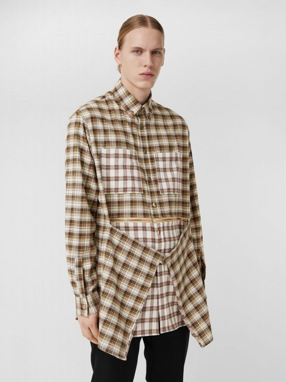 Zipped Hem Contrast Check Cotton Flannel Shirt in Dark Olive