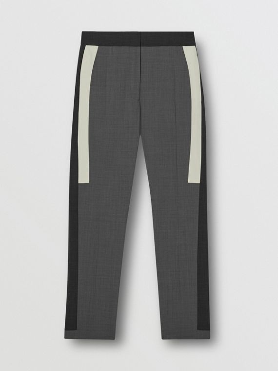 Contrast Stripe Stretch Wool Tailored Trousers in Grey