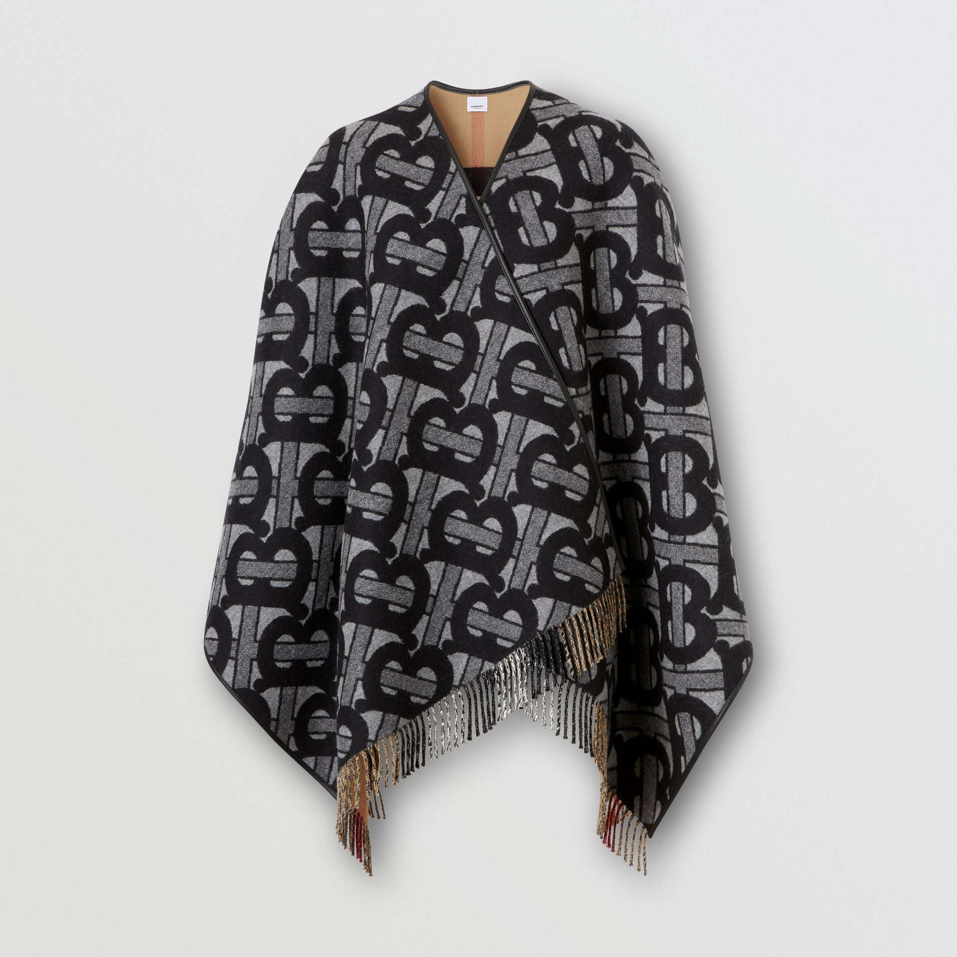 Monogram Merino Wool Cashmere Jacquard Cape in Graphite - Women | Burberry - gallery image 3