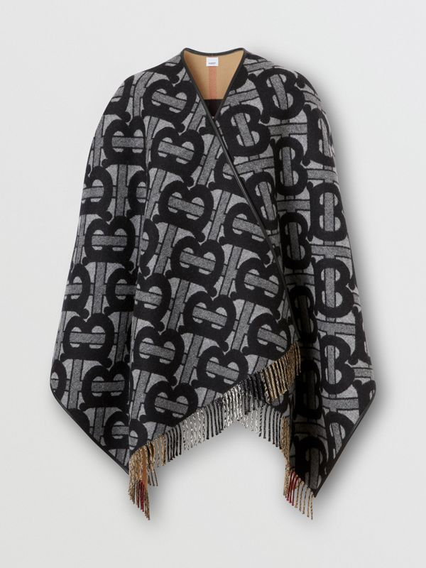 Monogram Merino Wool Cashmere Jacquard Cape in Graphite - Women | Burberry - cell image 3