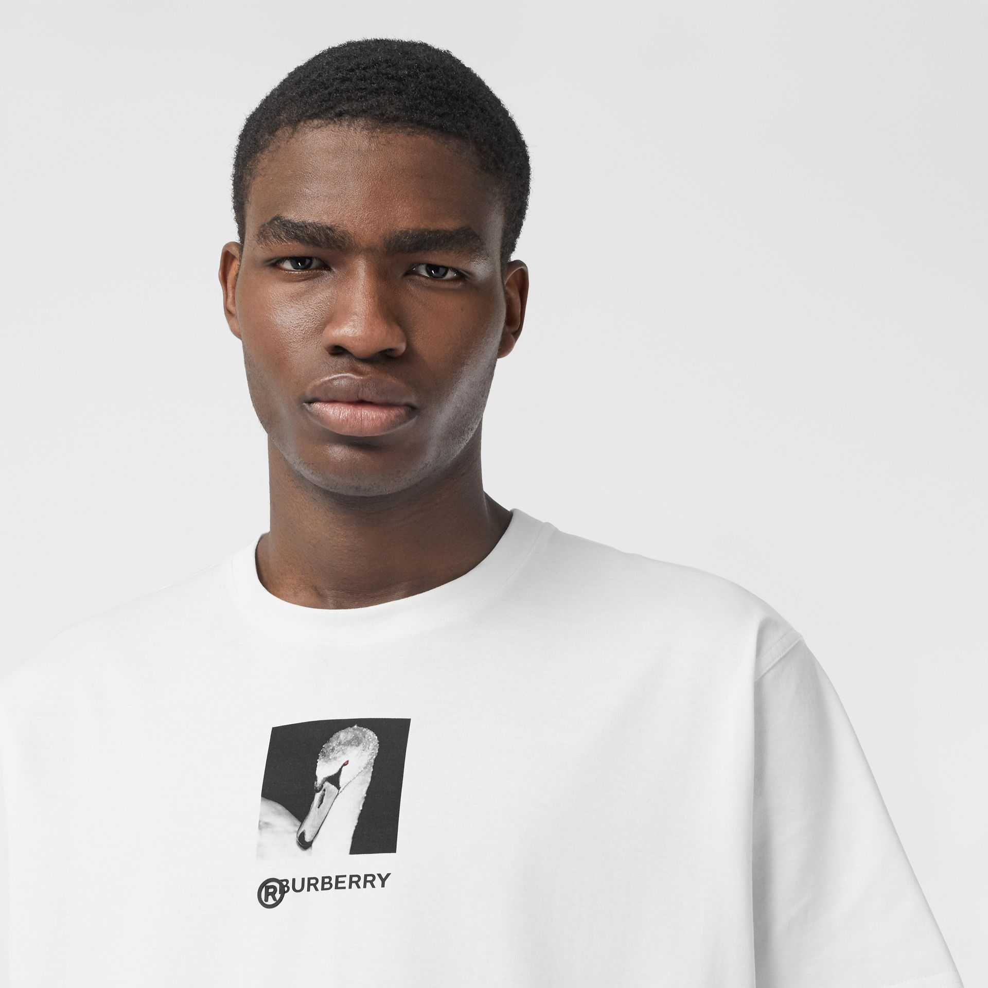 Swan and Logo Print Cotton Oversized T-shirt in Optic White | Burberry - gallery image 1