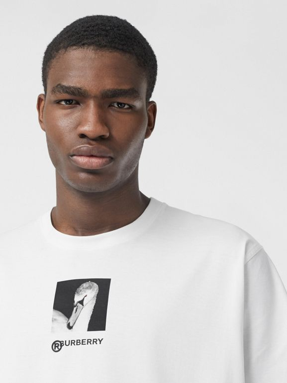 Swan and Logo Print Cotton Oversized T-shirt in Optic White | Burberry - cell image 1
