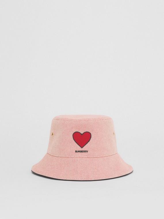 Heart Motif Cotton Canvas Bucket Hat in Red
