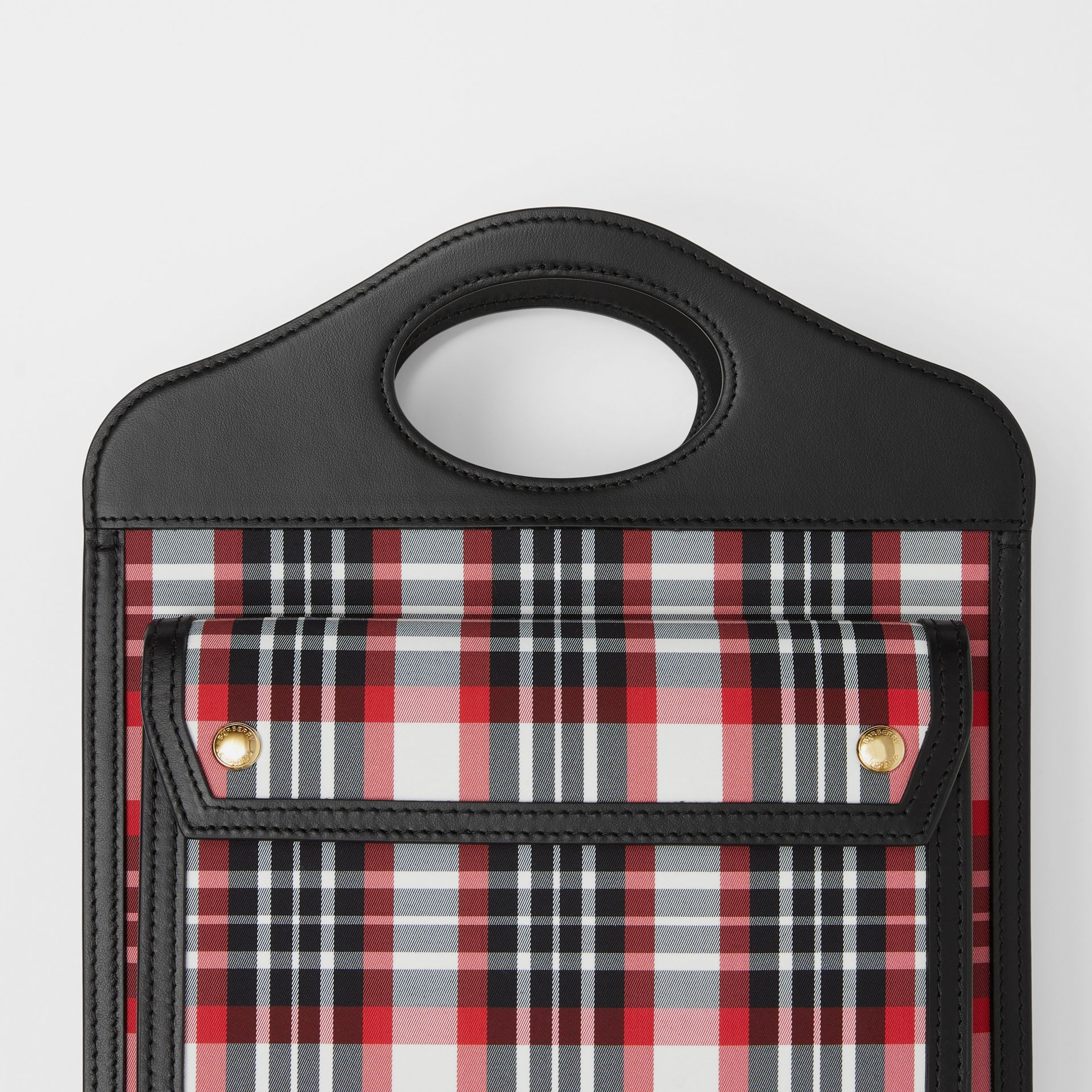 Mini Tartan Nylon and Leather Pocket Bag in Bright Red - Women | Burberry - gallery image 1