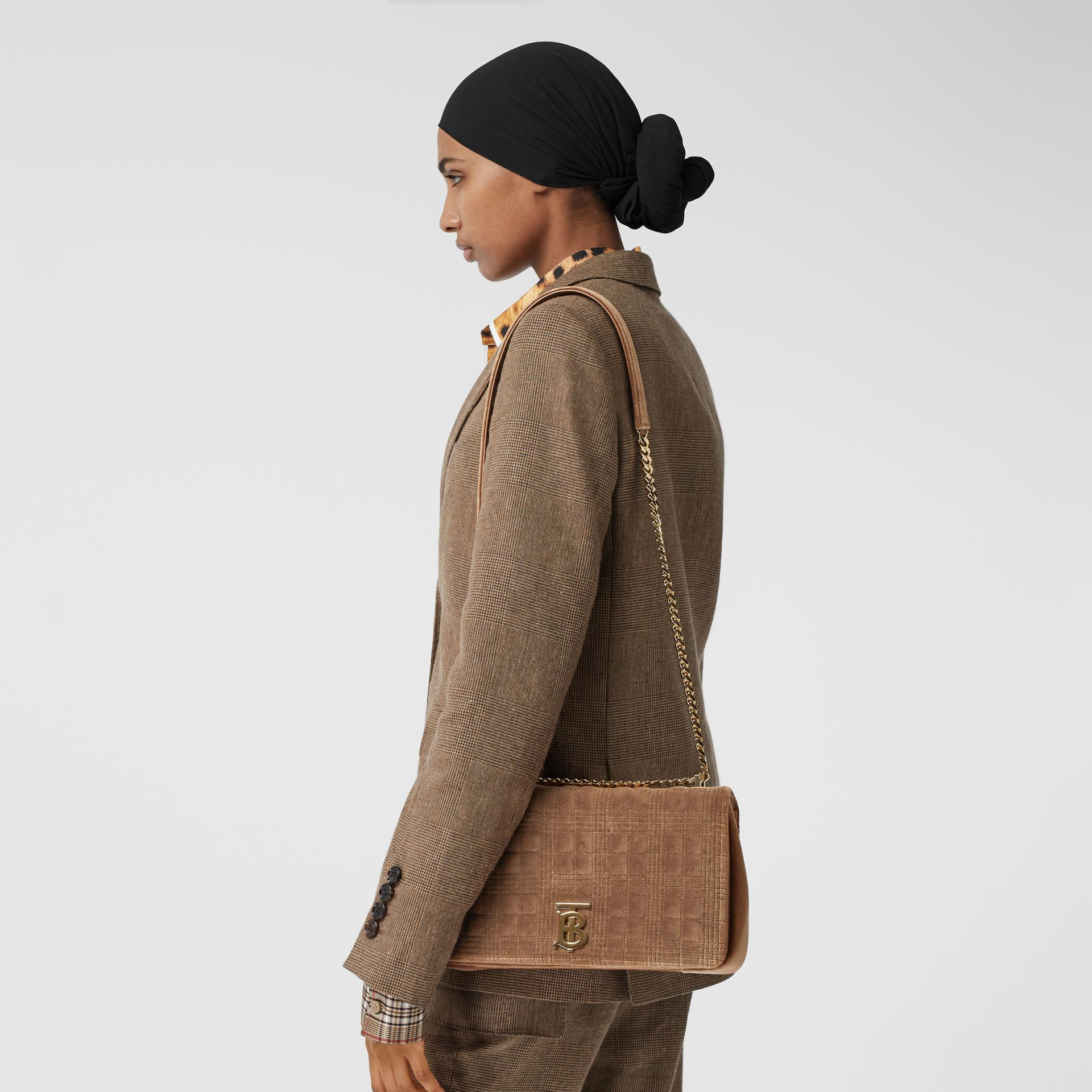 Medium Quilted Velvet Lola Bag in Fawn - Women | Burberry United States - gallery image 8