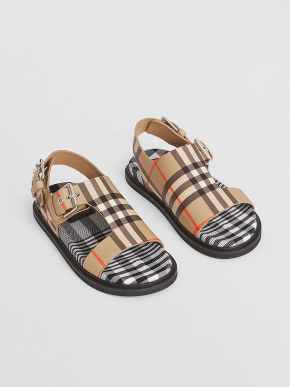 Vintage Check Leather Buckled Sandals in Archive Beige