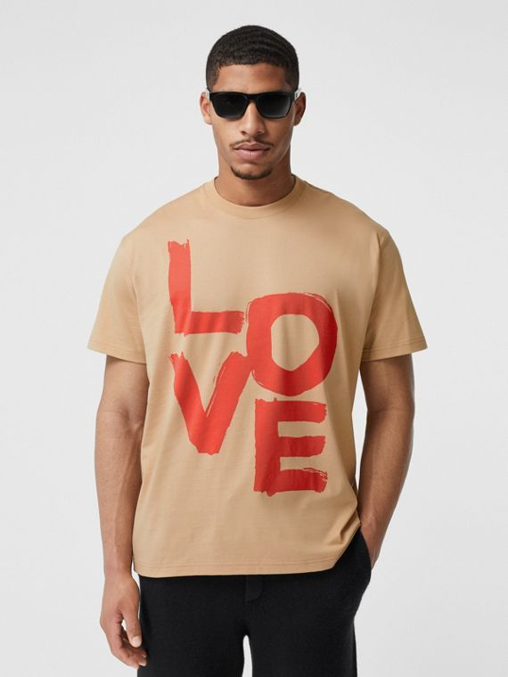 Love Print Cotton Oversized T-shirt in Soft Fawn