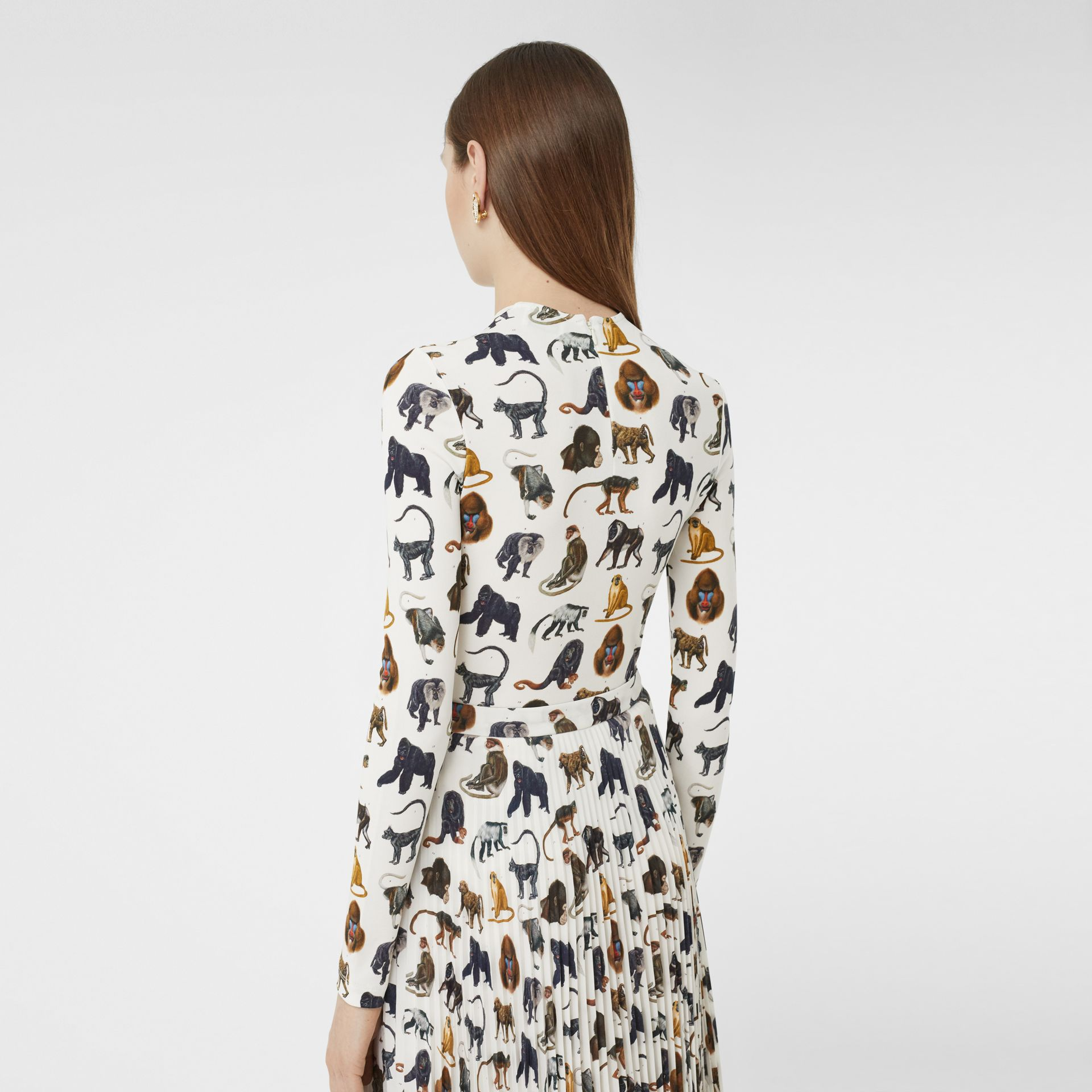 Monkey Print Crepe De Chine Pleated Skirt in White | Burberry United Kingdom - gallery image 1