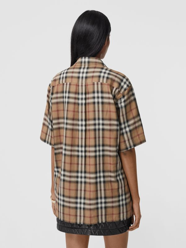 Ombré Check Cotton Twill Bowling Shirt in Birch Brown - Women | Burberry - cell image 2