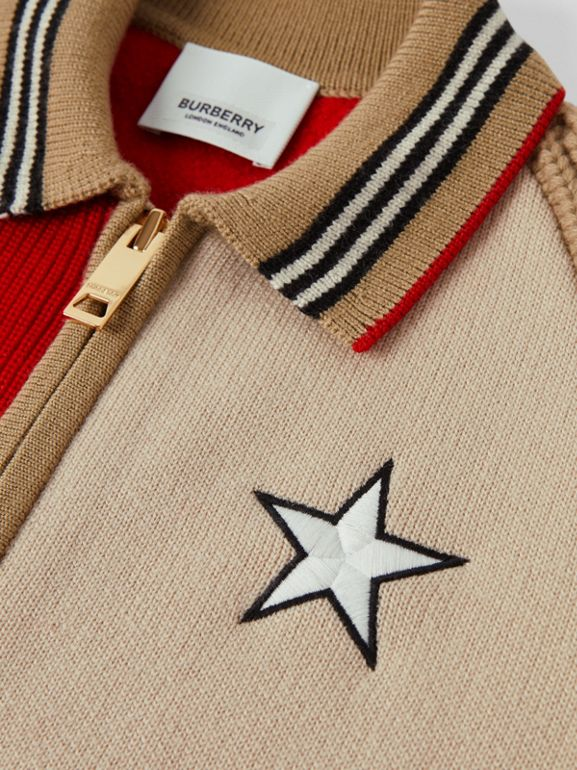 Star Motif Colour Block Wool Jacket | Burberry United Kingdom - cell image 1