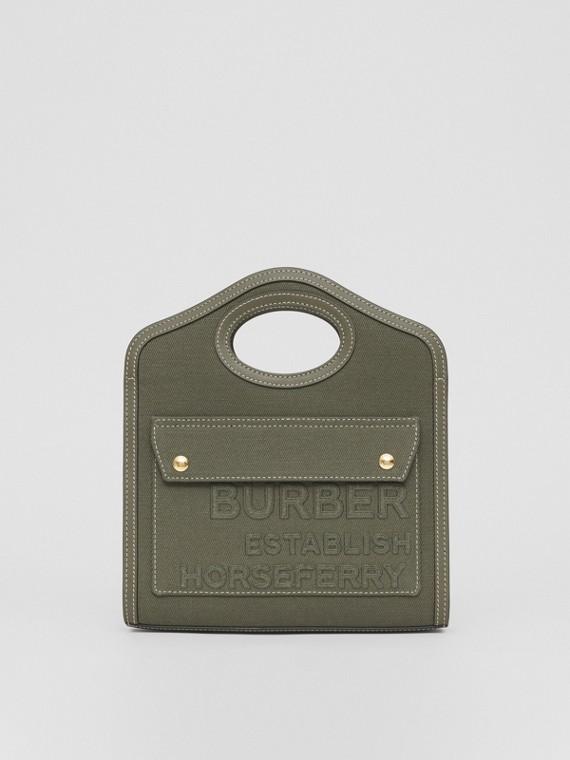 Bolso Pocket mini en lona de lino y algodón con motivo Horseferry (Verde Helecho Oscuro)