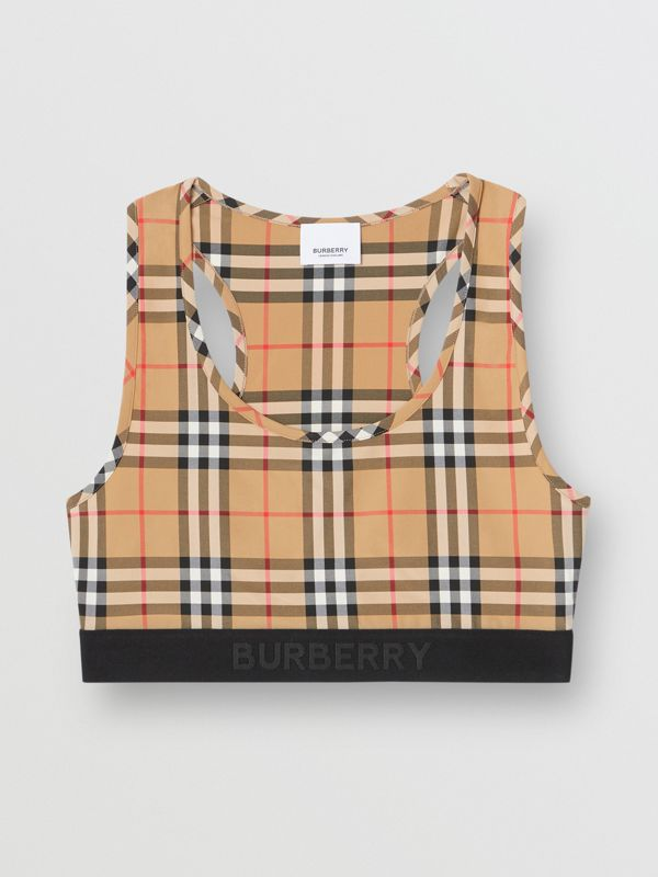 Logo Detail Vintage Check Bra Top in Antique Yellow - Women | Burberry United States - cell image 3