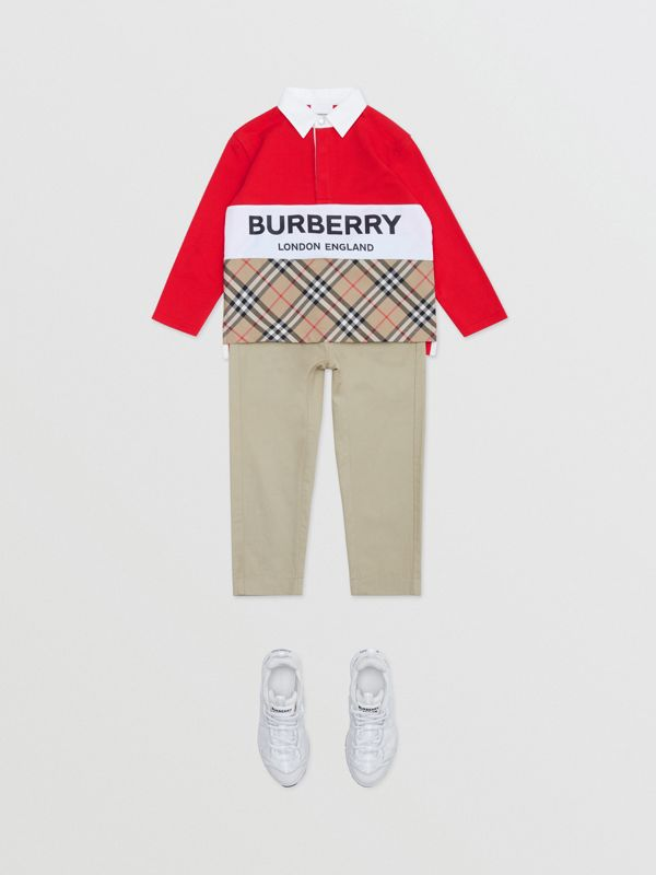 Long-sleeve Logo Print Vintage Check Panel Polo Shirt in Bright Red | Burberry United Kingdom - cell image 2