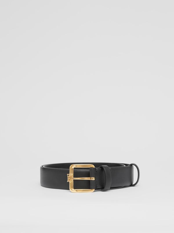Monogram Motif Leather Belt in Black - Women | Burberry - cell image 3