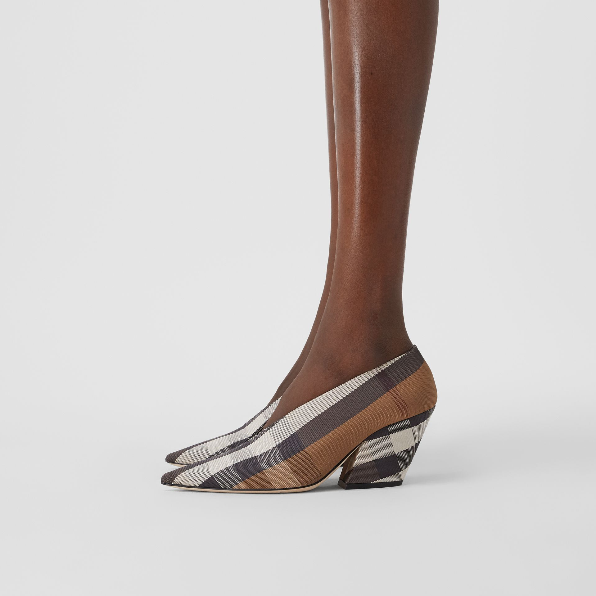 Check Technical Cotton Pumps in Birch Brown - Women | Burberry - gallery image 2