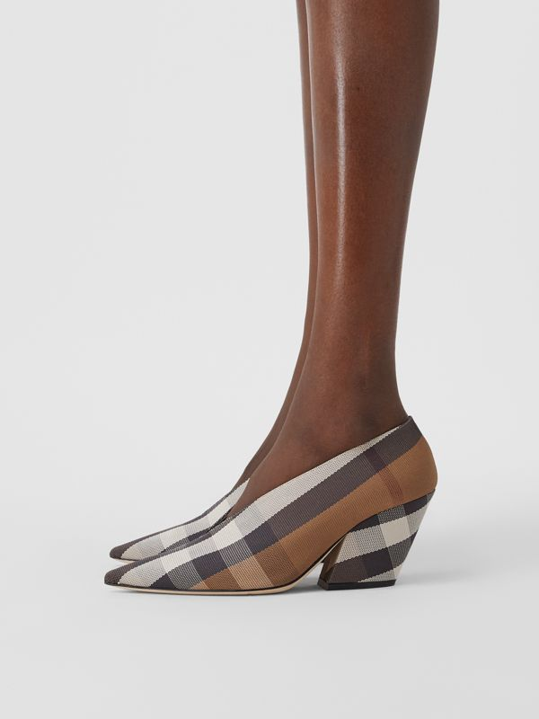 Check Technical Cotton Pumps in Birch Brown - Women | Burberry - cell image 2