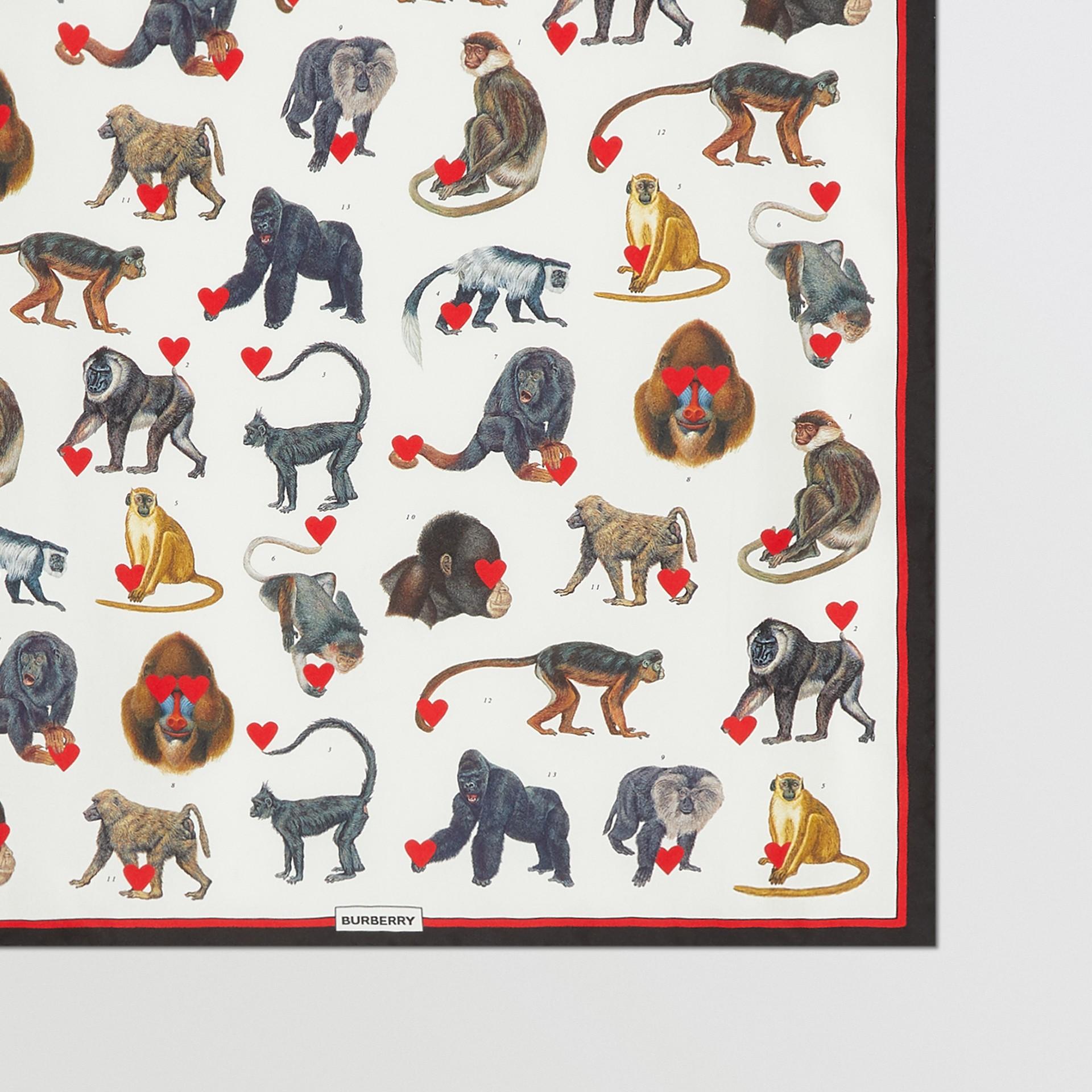 Monkey Print Silk Small Square Scarf in Multicolour | Burberry United Kingdom - gallery image 1