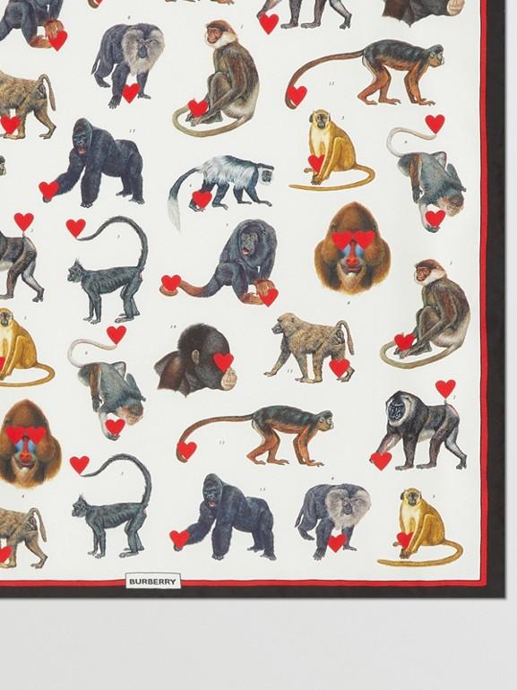 Monkey Print Silk Small Square Scarf in Multicolour | Burberry United Kingdom - cell image 1