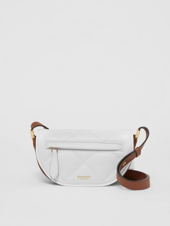 Mini Quilted Lambskin Olympia Bag in White/tan