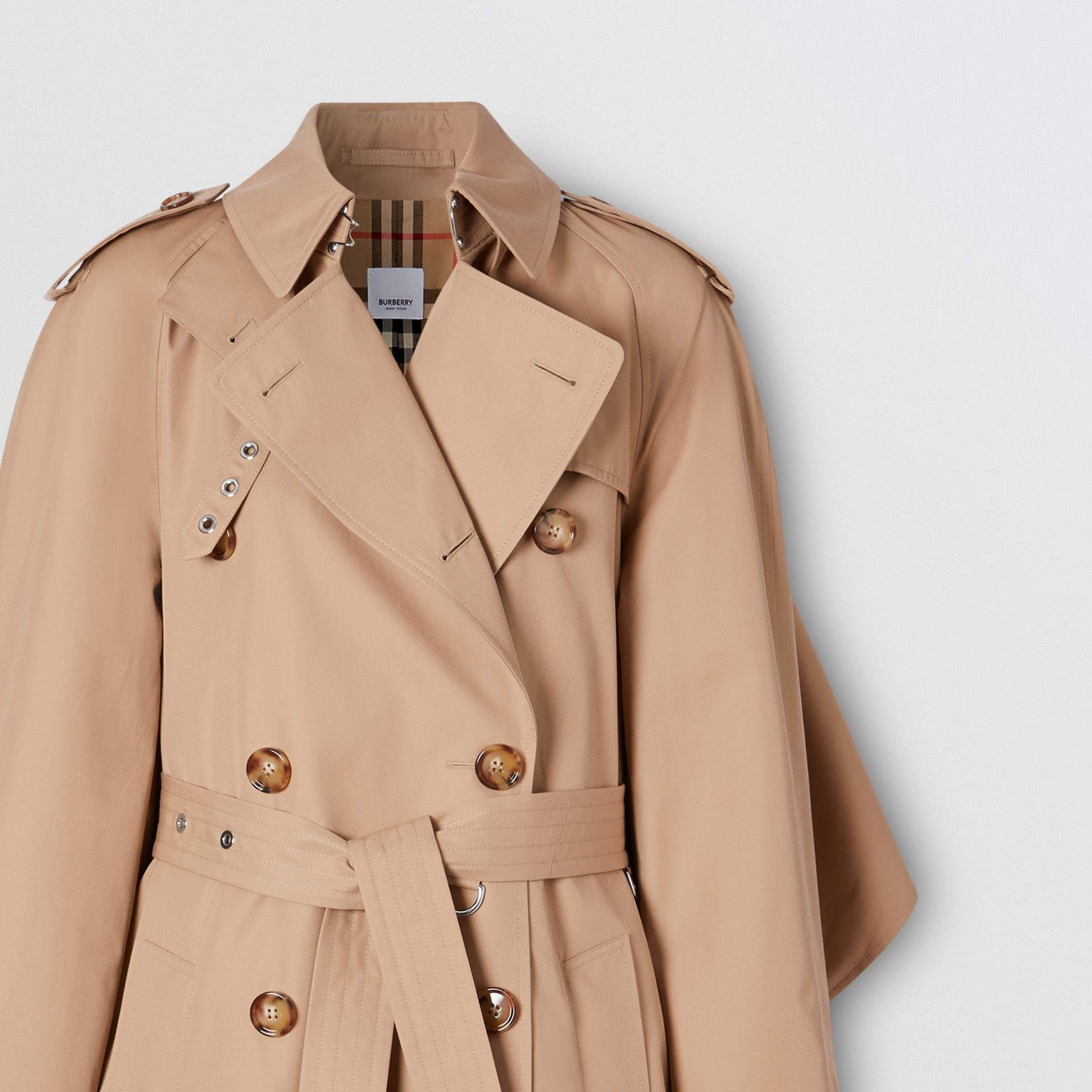 Contrast Cape Detail Cotton Twill Trench Coat in Soft Fawn - Women | Burberry - gallery image 2