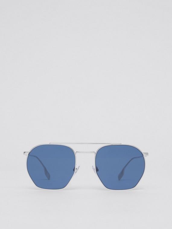 Geometric Frame Sunglasses in Silver