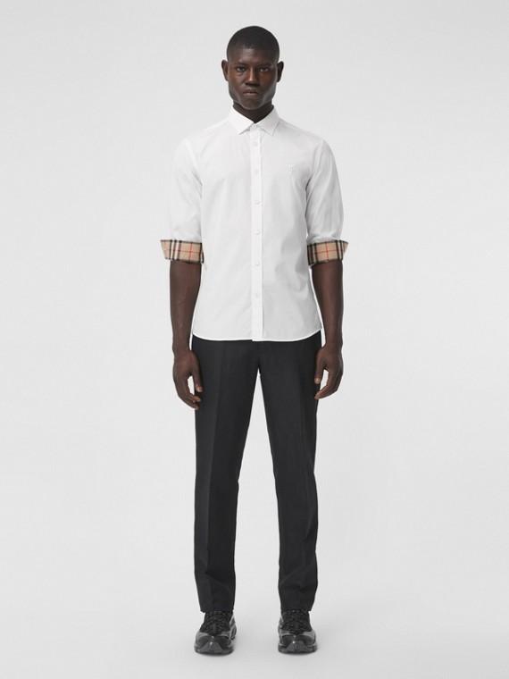 Camicia dal taglio slim in popeline di cotone stretch con monogramma (Bianco)