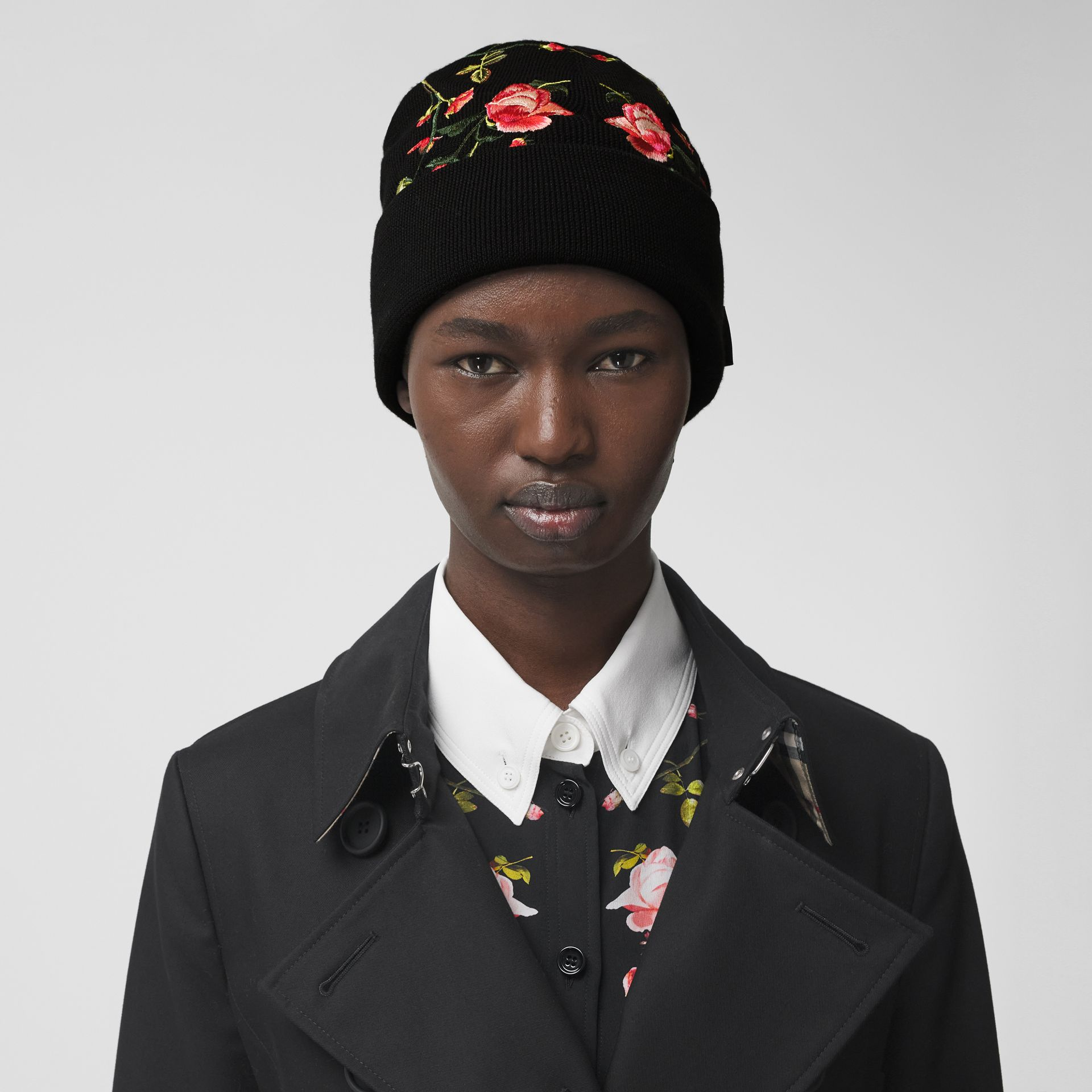 Embroidered Rose Merino Wool Beanie in Black | Burberry - gallery image 2