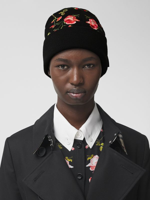 Embroidered Rose Merino Wool Beanie in Black | Burberry - cell image 2
