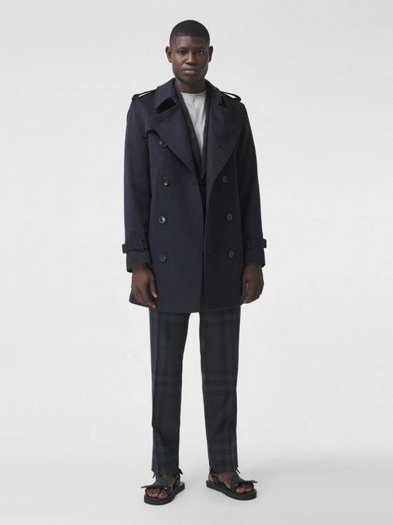 Wool Cashmere Trench Coat in Navy