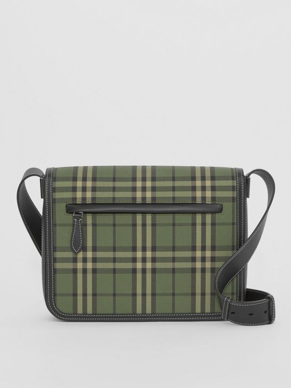 Small Check Cotton Messenger Bag in Military Green