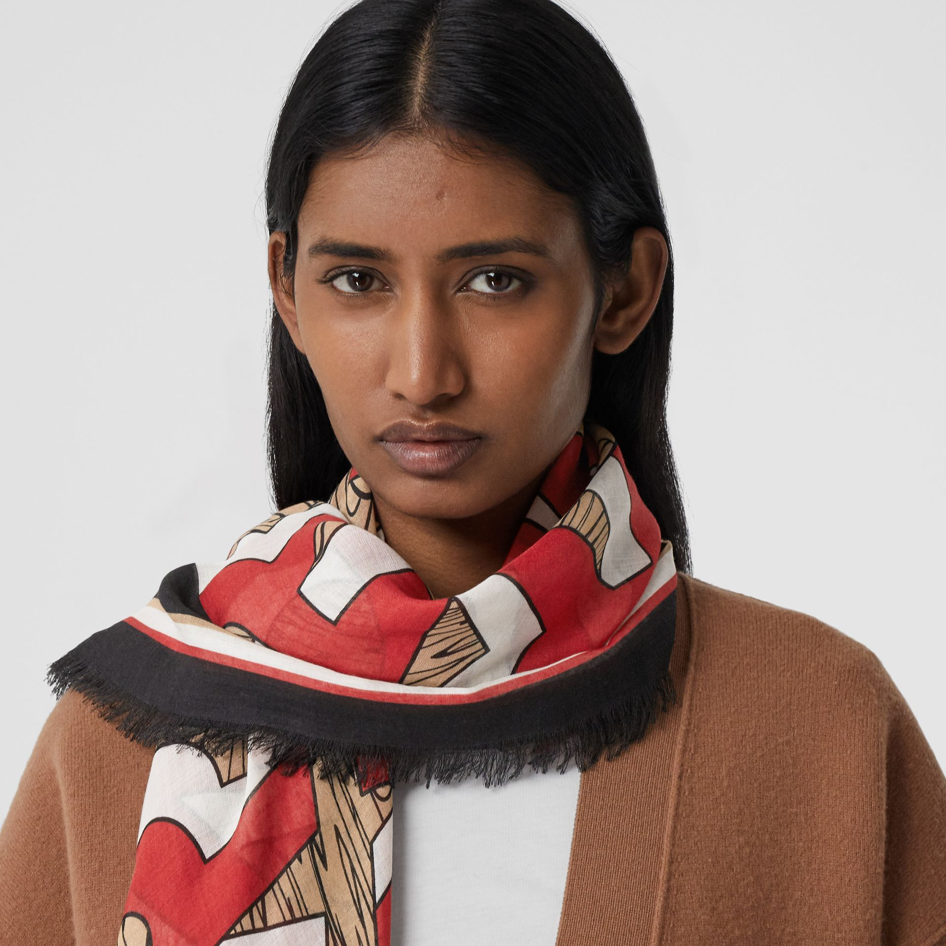 Logo Print Silk Wool Large Square Scarf in Archive Beige | Burberry - gallery image 2