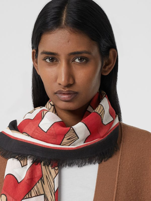 Logo Print Silk Wool Large Square Scarf in Archive Beige | Burberry - cell image 2