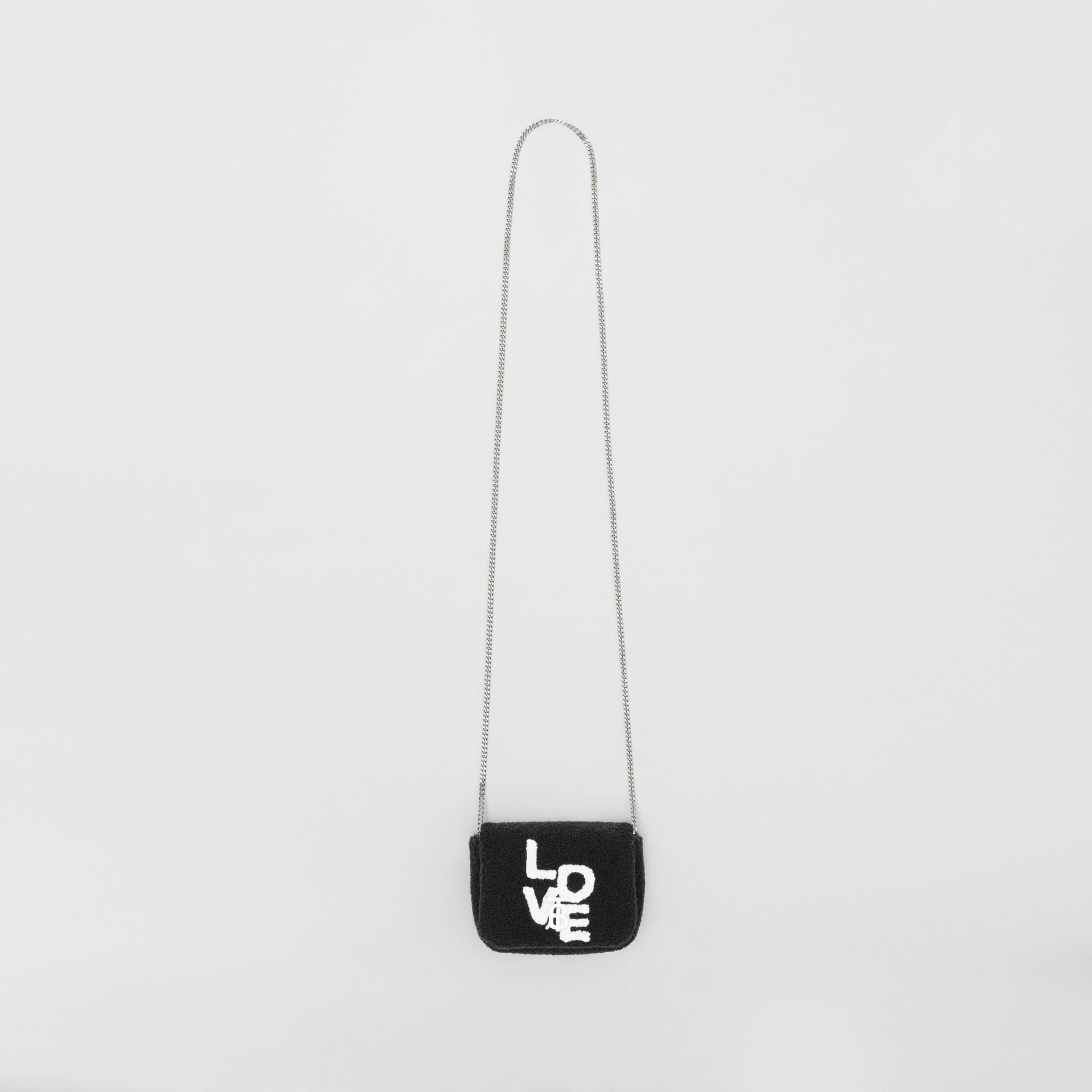 Micro Love Motif Towelling Lola Bag in Black - Women | Burberry - gallery image 3