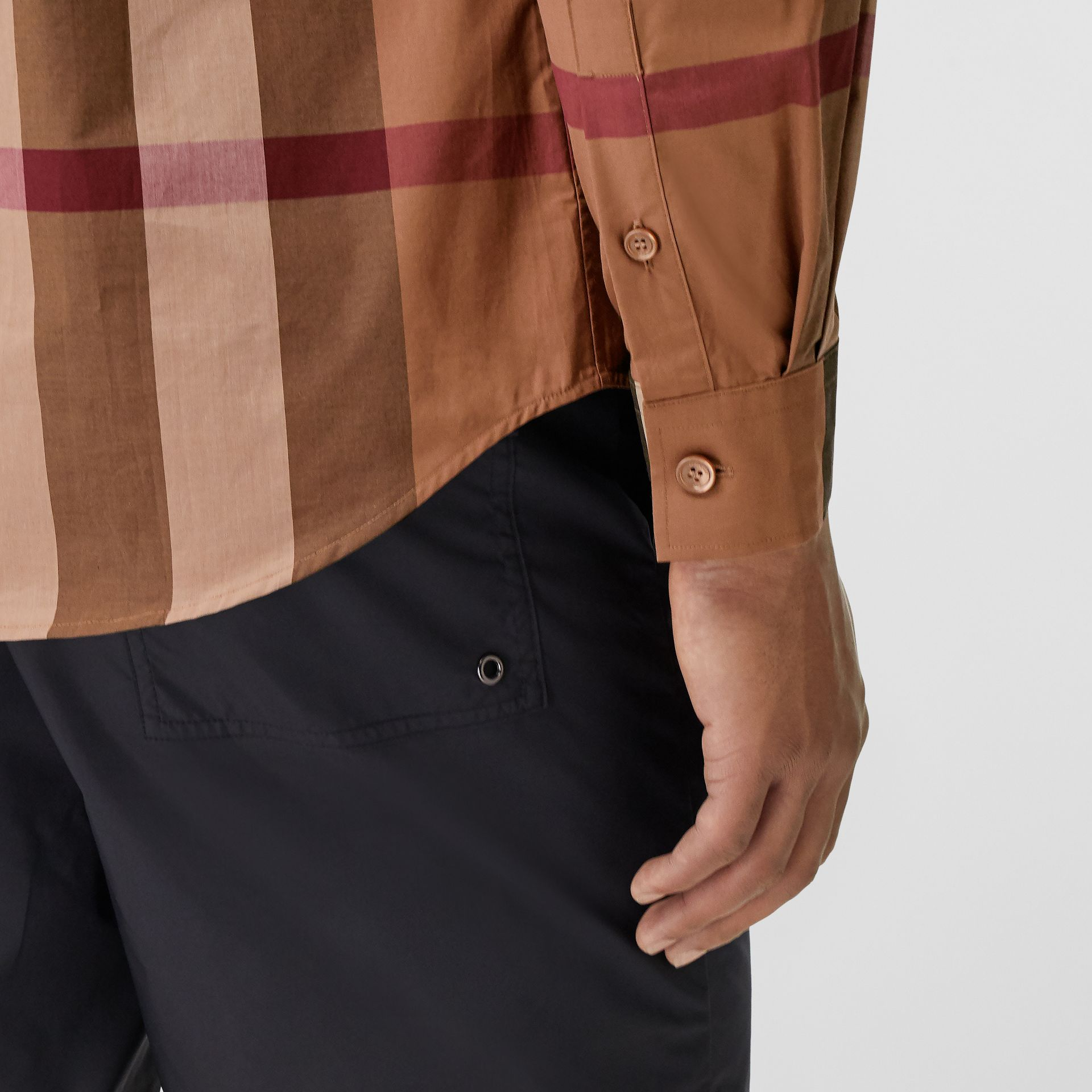 Check Stretch Cotton Poplin Shirt in Birch Brown - Men | Burberry - gallery image 4