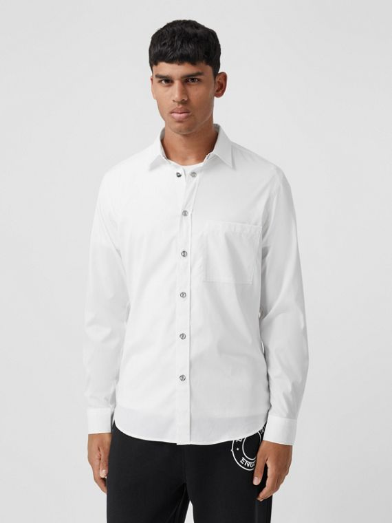 Monogram Motif Stretch Cotton Shirt in White