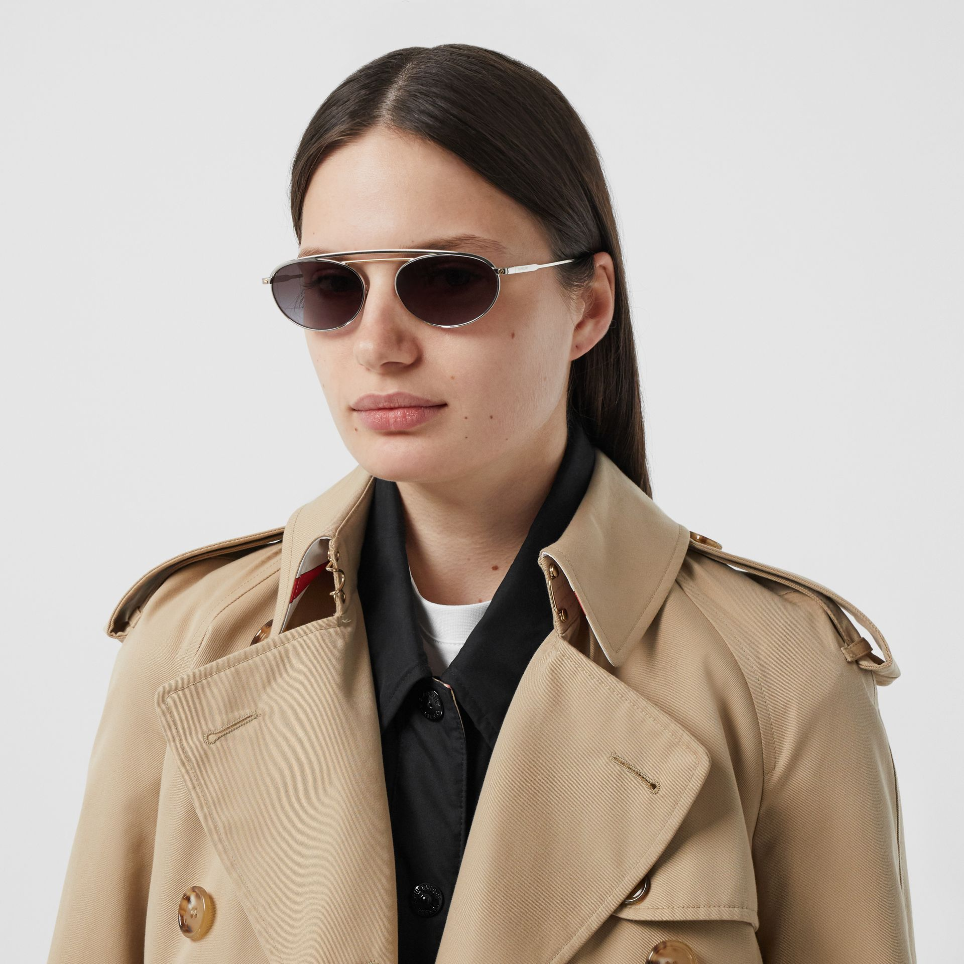 Oval Frame Sunglasses in Grey - Women   Burberry - gallery image 2