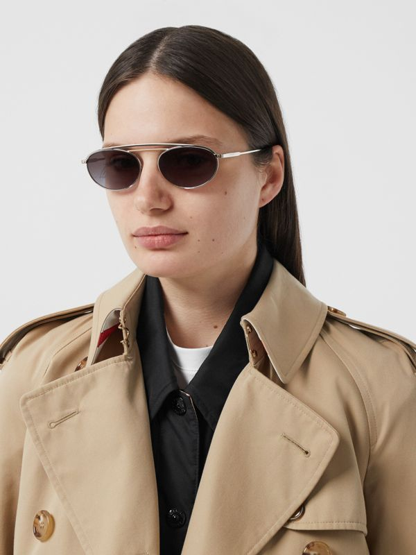 Oval Frame Sunglasses in Grey - Women   Burberry - cell image 2