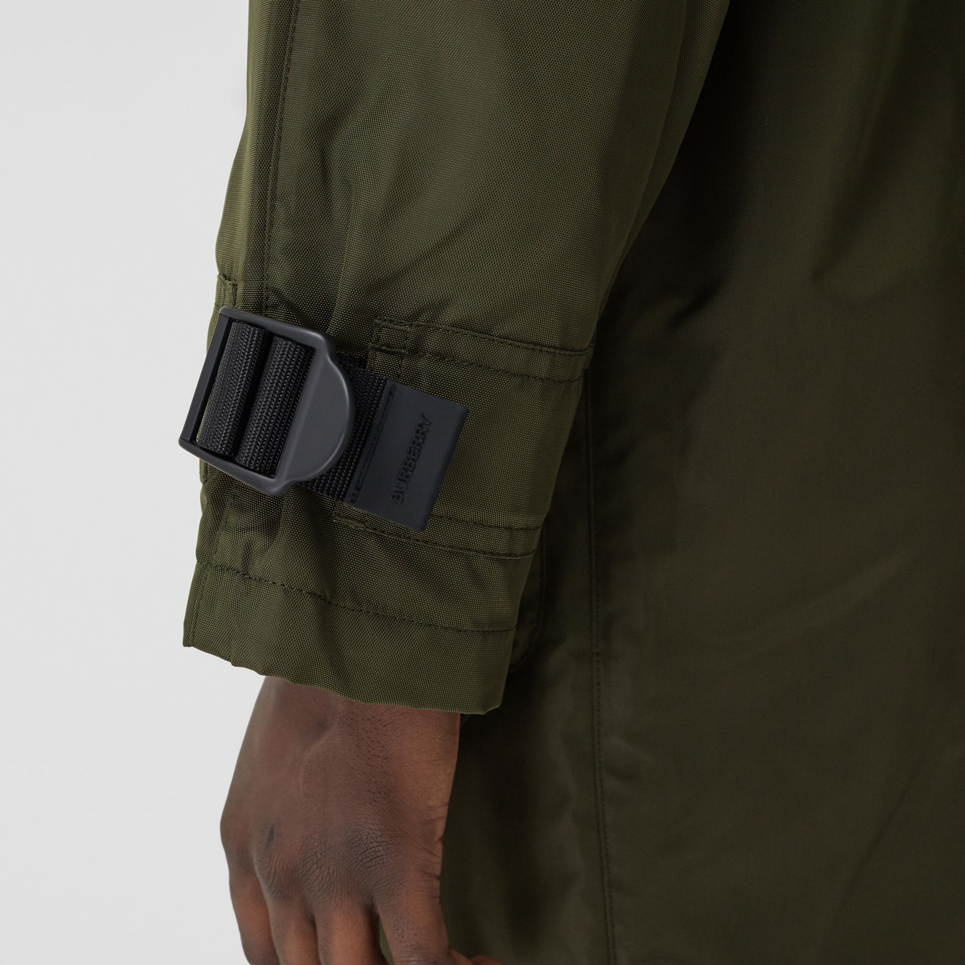 Packaway Hood Logo Tape Nylon Canvas Parka in Dark Olive - Men | Burberry - gallery image 5
