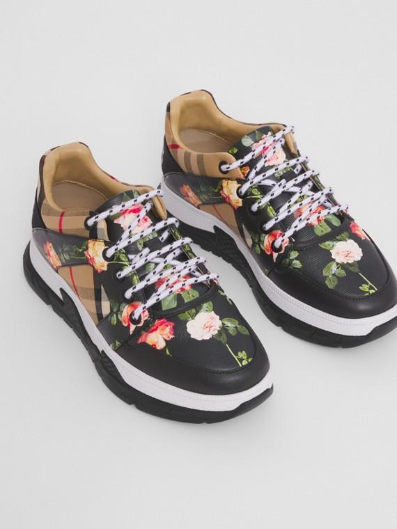 Vintage 格紋棉質和花朵印花運動鞋 (黑色)