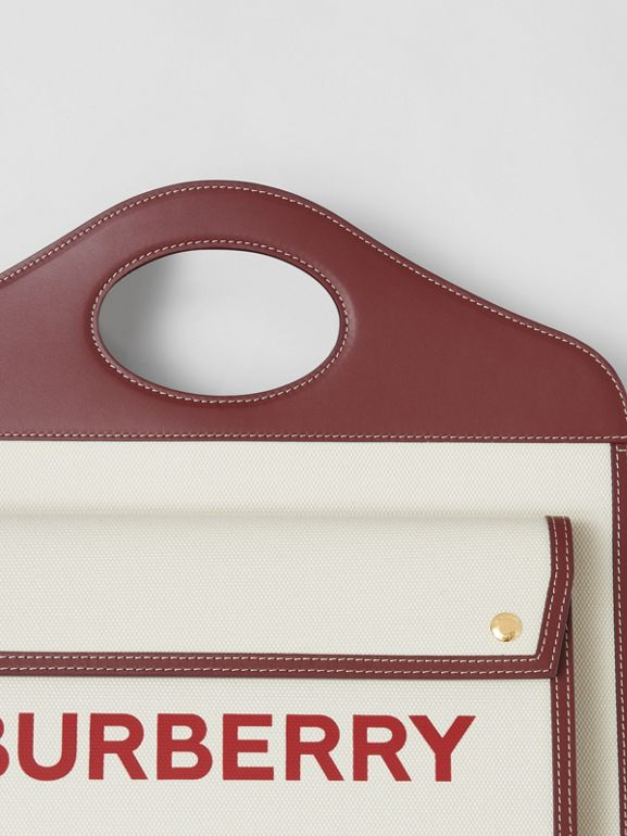 Medium Two-tone Canvas and Leather Pocket Bag in Natural/garnet - Women | Burberry - cell image 1